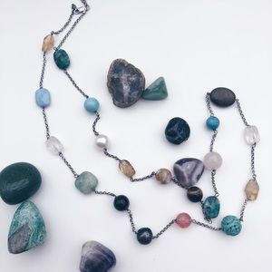 Jewelry - Beautiful beaded Long chunky gemstone necklace